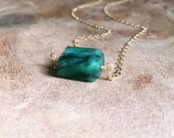Emerald Necklace - Raw Emerald Necklace - Emerald Jewelry - May Birthstone Jewelry - May Birthstone - Emerald