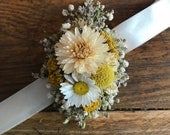 Wrist Corsage with ribbon overlay, Beautiful Natural Dried Flowers. Bracelet Floral Accessory, prom wedding,  Mother of the Bride, Brides
