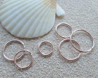 Rose Gold Cartilage Earring, 20 Gauge Rose Gold Sleeper Endless Hoop, Rose Gold Septum Ring, 14K Pink Gold Fill Body Jewelry, Rose Gold Hoop