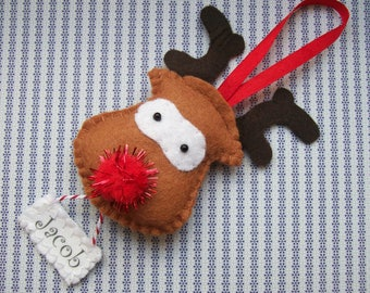 Personalised Kids Chrsitmas Ornament, Felt Reindeer Decoration, Rudolph, Gifts for Boys, Baby, Men, Plush Reideer Christmas Tree Bauble