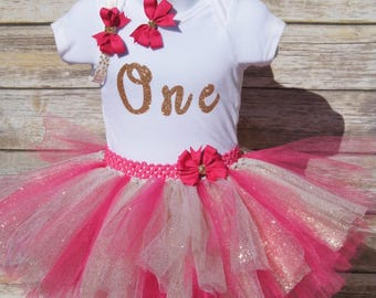 1st birthday outfit Birthday tutu outfit First birthday Birthday Princess Pink and Gold tutu set cute birthday outfit 1st birthday
