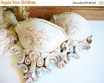 Sale French Brocante Syroco Wall Pockets/Repurposed Vintage Wall Sconce Set Of Two/Gold,White Pink Handpainted/Wedding Decor/Shabby Chic Dec