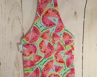Watermelon Small Knitting Tote Bag, Sock Sack, Wrist Tote Reversible Bag, Knitters Tote, Knitting Project Bag, over the wrist bag WTS0012