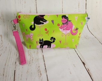 Small Knitting Project Bag - Paris Cats - Zippered Wedge Bag, Zipper Knitting Bag, Cosmetic Bag, Sock Knitting Bag WS0047