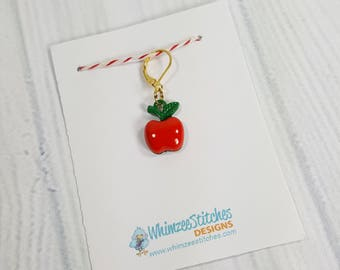 Glossy Red Apple Progress Keeper Marker Stitch Marker - 6mm lever back (gold toned) PK0010