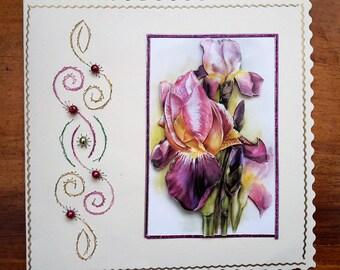 Purple IRIS - hand made 3D card