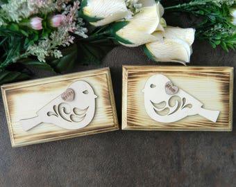 Set of 2 Rustic Ring Bearer Box, Bride and Groom Ring Bearer Pillow, Lovebirds Heart Ring Box, Set of Two Ring Bearer Boxes, Rustic Ring Box