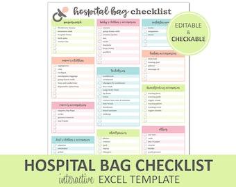 Hospital Bag Checklist - Editable - Printable | Excel Hospital Bag Packing List Template | New Baby Packing List | Instant Digital Download