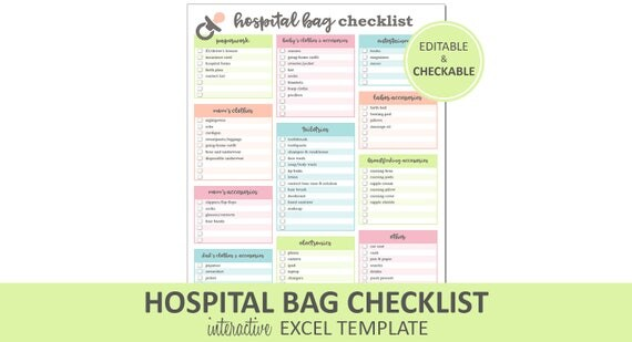 Hospital Bag Checklist   Editable   Printable | Excel Hospital Bag Packing  List Template | New Baby Packing List | Instant Digital Download  Editable Checklist Template