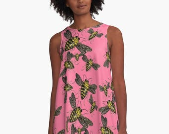 Queen Bees A-Line Swing Dress Trapeze Dress XS S M L XL 2XL Insect Nature Black Pink Yellow Woman Teen Wearable Art Clothing