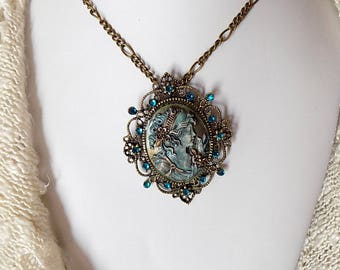 Cameo Necklace Cameo Pendant Victorian Lady Cameo Hand Painted Cameo Victorian Style Necklace Patina Jewelry