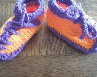 Fingering weight yarn sneakers, purple and orange baby shoes