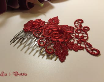Burgundy wedding lace Hair Combs * 3 lace *.
