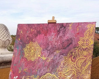 Large, hand painted abstract art with mandalas