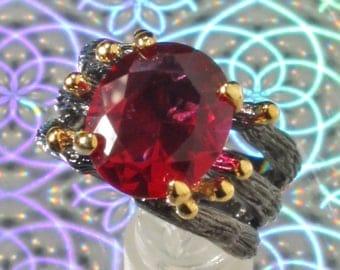 Black Ruthenium Plated Faux Large Pink Tourmaline Crystal Gothic Design Ring, US Sz 7, Free Shipping