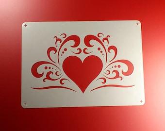 Template Heart Ornament Vine Volute-BE02