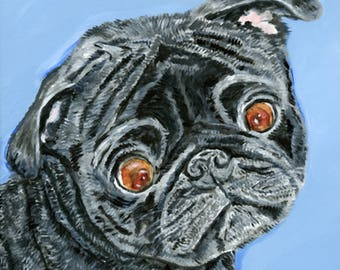 portrait of a pug from photo custom pug art painting of a pug portrait pug owner gift christmas pet portrait memorial