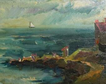 1987 European art impressionist oil painting seascape signed