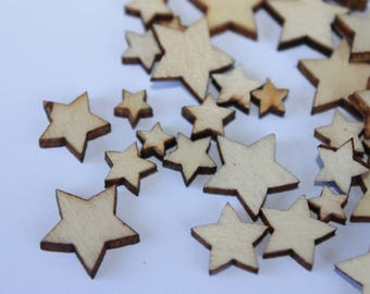Wooden Star Embellishments Flat Backs Sewing Home Craft Scrapbooking, assorted sizes, Christmas star embellishments, lot of 50