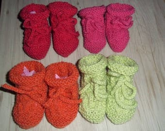 3 pairs of slippers orange pink and fuchsia pink twist 0-3 months