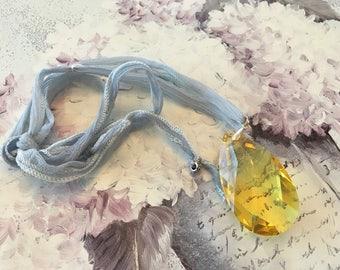 Necklace short necklace Swarovski Crystal Teardrop in the Sun