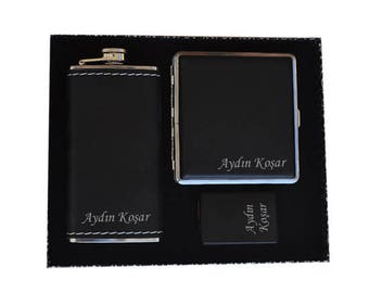 Personalized Cigarette Case, Flask and Lighter Set / Custom Engraved Name