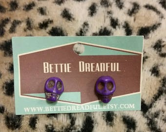 Skull Earrings Creepy Studs Kitsch Calavera Accessories Purple Jewelry Festival Jewellery Kustom Halloween Pinup Pin Up Alternative Gothic