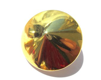 ROUND TAPERED 32 MM DIAMETER GOLD METAL BUTTON