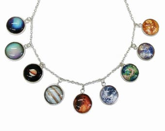 Planet and Sun Charm necklace