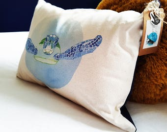 Handmade Sea Turtle Cushion   Organic Cotton   Matte Velvet   Midnight Navy Blue   Rustic   Interior