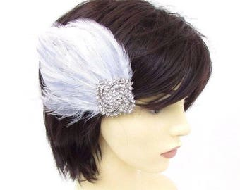 White Light Grey Silver Diamante Feather Fascinator Hair Clip Races 1920s 3487