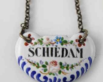 "Antique Dutch enamelled decanter label ""Schiedam"""