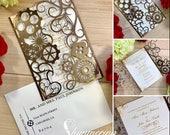 Steampunk wedding invitation laser cut gears and hearts cut gatefold victorian escape room party unique style