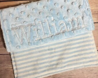 Baby Blue with White StripesElegant Burp Cloth Set Available Mix and Match  Made to Order, Monogramming Option