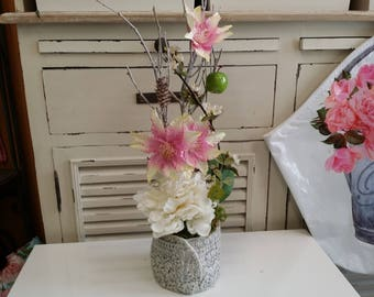 fabric Peony and Clematis flower arrangement