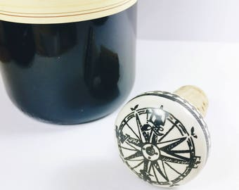 Compass Gift Cork Wine Bottle Stopper, Nautical Gift, Compass Cork Bottle Stopper, Wine Gift For Him, Cork Wine Bottle Stopper, Nautical