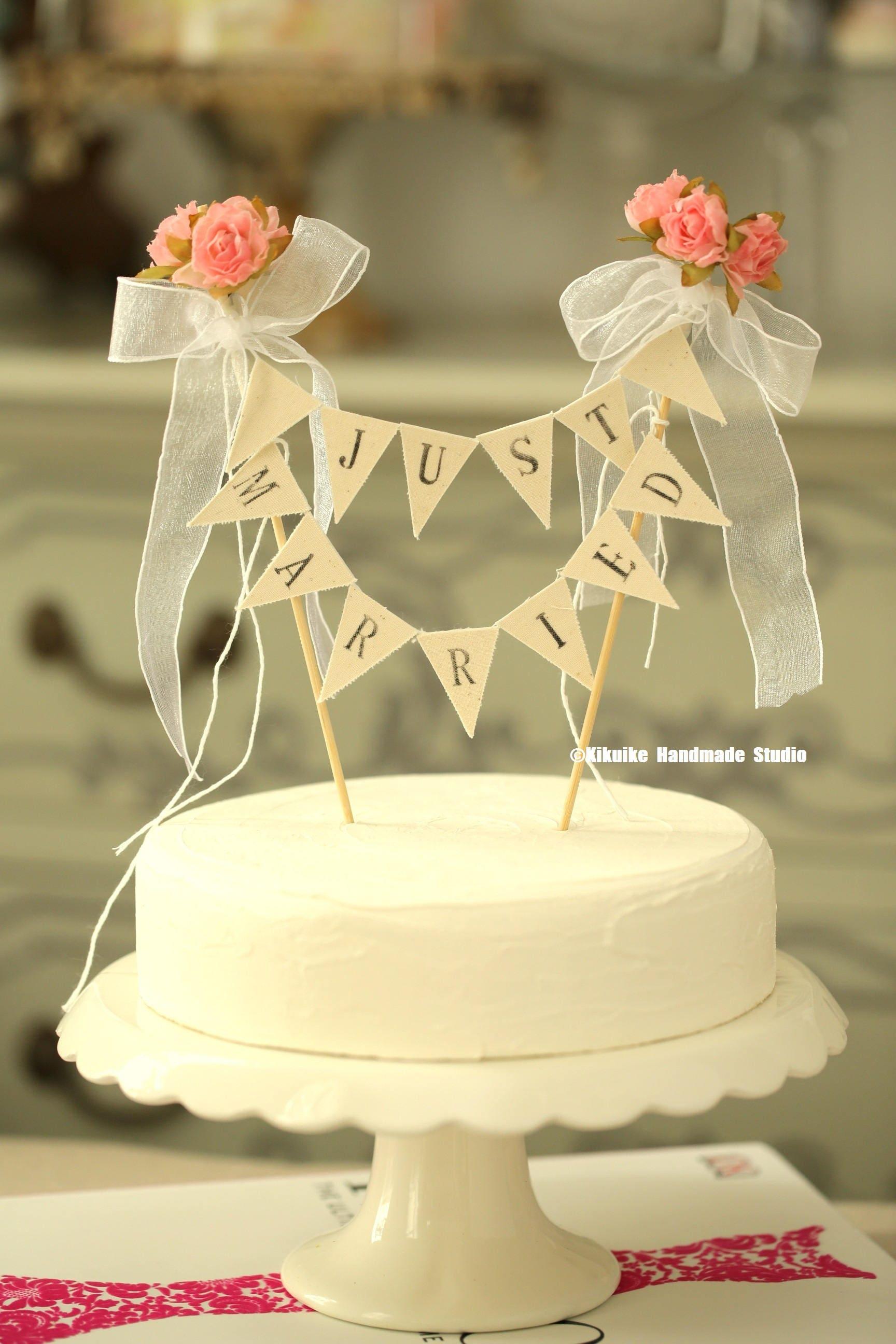 Just Married Wedding Cake BannerFlower Cake buntingRustic Wedding