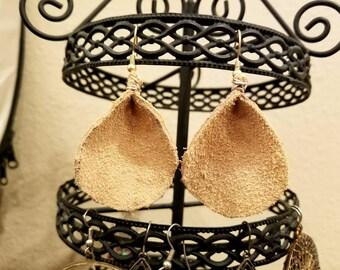 Tan suede tear drop earrings