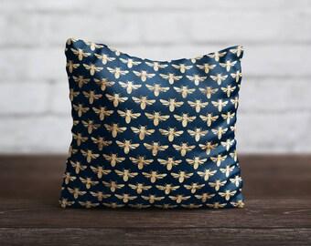Gold Bee PillowCase Blue Throw Pillow Cover Insect PillowCase Sofa Decorative Pillow Silk Pillow Cover Cushion Satin Pillow Toss Home Decor
