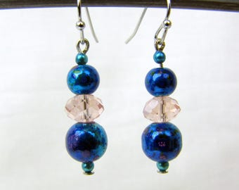 Handmade Dangle Earrings ~ Iridescent Midnight Blue Beads ~ Pink Faceted Crystals ~ Silver Tone Fish Hooks ~ Pierced