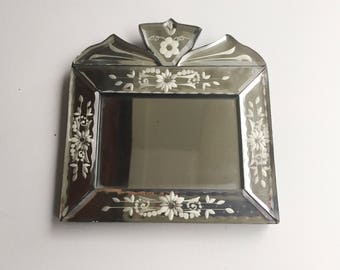 Venetian Mirror - Small Wall Mirror - Small Desk Mirror - Venetian Glassware