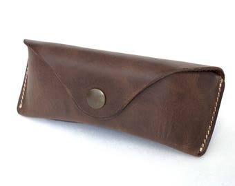Glasses case for RayBan Aviators sunglasses case  waxed leather espresso brown Soft case handmade by Celyfos®