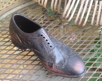 Vintage rustic Oxford Shoe Planter, Vintage Shoe Planter, Vintage Garden Decor, Vintage Planter