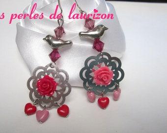 Pink multicolored bird earrings