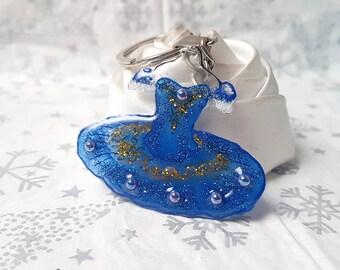 dress dancer blue and gold key holder