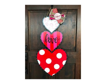 Stacked Heart Valentines Day Love wood door hanger - sign - hand painted