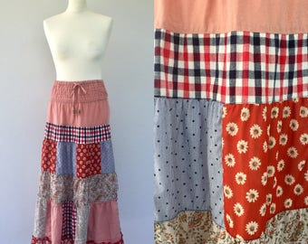 Vintage 90s Patchwork Ladies Skirt, 70s Style, Flower Pattern, Embroidered, Boho Skirt, Gypsy Skirt, Peasant Skirt, Festival, Size 10 12UK