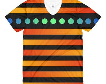Women's Polka/ Stripe crew neck t-shirt, polkadot, stripes, apparel, clothing, orange, green, blue, unique, gift, present, original design