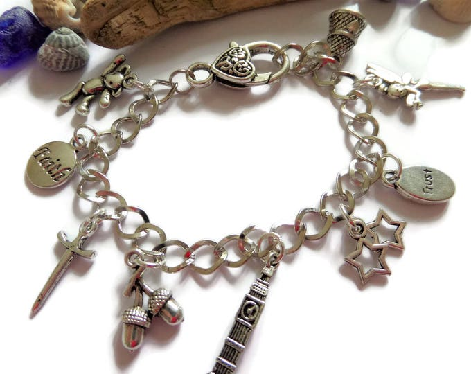 PETER PAN inspired silver charm bracelet  fan gift Xmas present Tinkerbell Wendy neverland jewellery gift UK