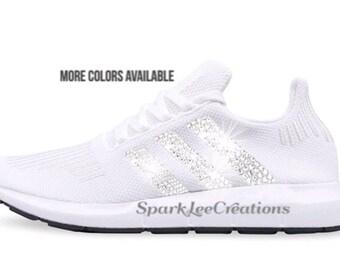 Adidas Swift Run Custom Crystal Sneakers Bling Adidas Shoes